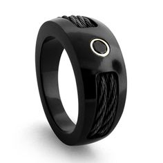 All-Black Engagement Rings men | In all black, this Edward Mirell 10mm Black Titanium Diamond Ring from ...