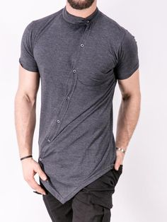 K&B Men Moved Buttons Mock Neck T-shirt - Heather Gray