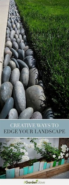 Garden Edging: Landscape Edging Ideas with Recycled Materials Creative Ways to Edge Your Landscape Lawn Edging, Garden Edging, Lawn And Garden, Garden Borders, Sidewalk Edging, Rock Edging, Stone Edging, Rocks Garden, Garden Leave