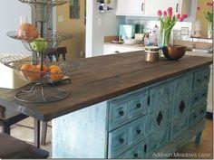 Trendy Kitchen Island Bar Table Old Dressers Ideas Dresser Kitchen Island, Kitchen Island Bar, Kitchen Redo, Kitchen Remodel, Island Table, Island Cart, Repurposed Furniture, Painted Furniture, Dresser Repurposed