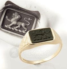 This vintage signet ring mount has been sourced from local antique dealers and set with a new Black Onyx and engraved by Joe Wright at Dexter Rings Ltd. The ring mount itself is light in weight and aged with slight patina with some slight markings you would expect to see on a vintage ring of this age. This is part of the character and history of this unique piece.  Specification Face Dimensions: 8mmX11mm Ring Weight: 1.9 grams Stone: Black Onyx, newly set and engraved Mount: Vintage 9ct…