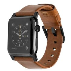 Amazon.com: Nomad Horween Leather Strap for Apple Watch - 42mm Modern Build - Classic Bold Design - Custom Stainless Steel Lugs and Buckle - Black Hardware: Cell Phones & Accessories