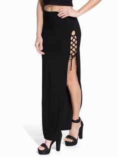 Lace Up Sides Maxi Skirt