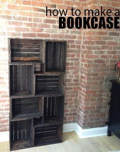 How to make a bookcase -- this idea, but paint individual boards in white/turquoise instead of staining.