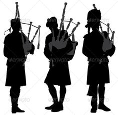 11 pipers piping: Bagpiper Silhouette
