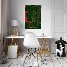 SHKODER Albania city map Frame is not included - you will get the print only. We have over 2000 cities worldwide mapped and