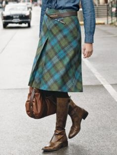 Must. Stop. Looking. Gatehouse Inverted Pleat Skirt - olive & teal plaid $102.99.  Swoon.  Seriously swoon.