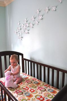 Flowers on the wall - girl's room. Butterflies can work too!