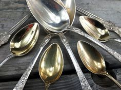antique sterling silver spoons, gold plates silver spoons