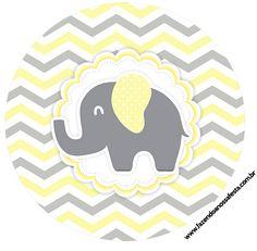Uau! Veja o que temos para Rotulo Latinhas, Toppers e tubete Elefantinho Chevron Amarelo e Cinza