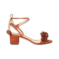 Aquazzura Disco sequinned-pompom suede sandals (16.421.825 VND) ❤ liked on Polyvore featuring shoes, sandals, tan multi, suede sandals, summer sandals, summer shoes, embellished sandals and sequin sandals