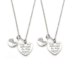 d543249b8 2pcs Pinky Promise Charm Necklace You are Always in My Heart Best Friends  Couple #Handmade