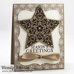 Stampin' Up! ... handmade Christmas card ... Bright & Beautiful star ... kraft with black and vanilla ... Top Note tag ... like it!