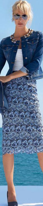 голубая кружевная юбка, юбка из кружева