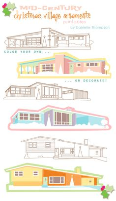 mid-century xmas village ornaments, printable by Danielle Thompson