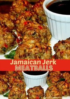 Jamaican Jerk Meatballs (non-keto side note: they can be served on Hawaiian rolls) Jamaican Cuisine, Jamaican Dishes, Jamaican Recipes, Beef Recipes, Cooking Recipes, Chicken Recipes, Healthy Recipes, Jamaican Appetizers, Meatball Recipes