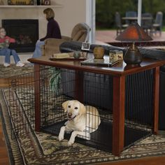 turn a plain old dog crate into a double-duty end table | dog