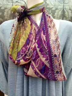 Soft silk triangle that ties beautifully in pastel ethnic prints