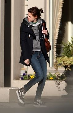 True Religion Stella skinny jeans, an American Apparel 3/4 Sleeve raglan shirt, an Urban Outfitters speckle fleece hoodie, French Connection Arnas wool military coat, and a Linea Pelle Lola tote bag.