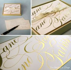Gold Foil Stamped Custom Correspondence Cards with Gold Edging by ECRU Stationery & Design