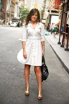 75 Gorgeous White Shirtdress for Summer and Spring Outfits Ideas Work Fashion, Street Fashion, Women's Fashion, Spring Summer Fashion, Spring Outfits, Sexy Outfits, Fashion Outfits, Street Style Summer, Street Chic