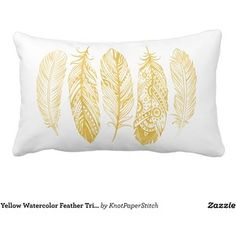 Yellow Watercolor Feather Tribal Print Pillow Cushions
