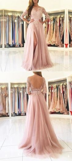 pink long prom dress, 2018 long prom dress, half sleeves pink long prom dress, formal evening dress party dress