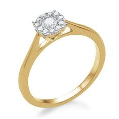 10K GOLD HALO REAL DIAMOND ENGAGEMENT WEDDING RING SZ 5 SZ 6 SZ 7 SZ 8 SZ 9  #Solitaire