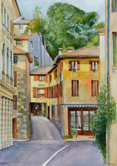 Pencil, ink and watercolour painting by Dai Wynn of the town centre of Asolo, in northern Italy.  Painted on 300gsm rough surface texture Arches french cotton paper.  42 cm high by 29 cm wide by 0.1 cm thick.  Click on http://www.daiwynn.com/artist/asolo-historic-town-centre-northern-italy/ to check availability for purchase.