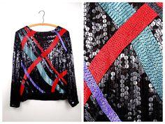 HEAVY Beaded Sequined Designer Blouse / Lillie Rubin by braxae