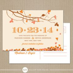 Fall Leaves Personalized Wedding Save the by MalloryHopeDesign, $40.00 - I like that this can be made into a magnet so people can put it on the fridge and not lose it!