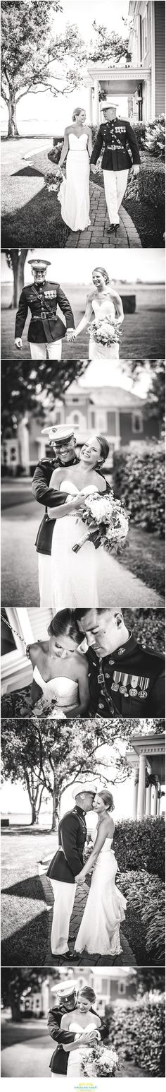 Romantic bride and groom portraits in black and white | Columbus Ohio Wedding Photographer | Amanda Noel Photography | outdoor military wedding