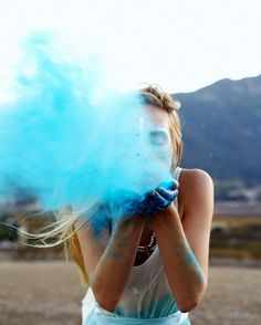 do this with all the kids, they have powder in there hands of there fav colors!