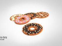 IYU-IYU 6 Glas Untersetzer Donuts - Bügelperlen