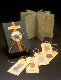 Leavings by Julie Chen.   Illustrated card stock in accordian fold format, with mounted text, illustration within cutout mats, and artifacts attached to baggage labels that are inserted in pockets of some of the panels. Issued in cloth-covered box (18 x 13 x 5 cm.) with diapered lid and tie; colophon appears inside box.  http://ring1.hosted.exlibrisgroup.com/vwebv/holdingsInfo?bibId=30417