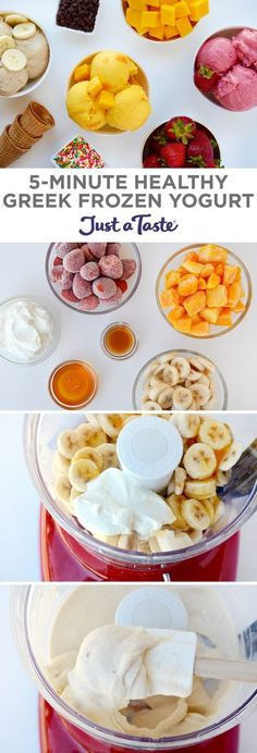 Dessert that's quick and healthy? Transform your favorite frozen fruit into Healthy Greek Frozen Yogurt, no ice cream . Healthy Fruit Smoothies, Healthy Sweets, Healthy Dessert Recipes, Fruit Recipes, Delicious Desserts, Yummy Food, Healthy Yogurt, Baking Recipes, Homemade Smoothies
