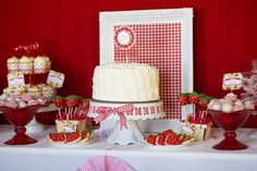 Love the vintage/farm chic look of this dessert table...Love, love, love the red and white...would probably do apples instead of strawberries