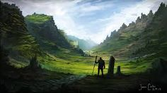 greeny mountains, fantasy landscape