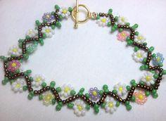 seed bead bracelets   Daisy Chain seed bead beadwoven bracelet by JenJohnson42 on Etsy
