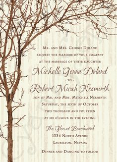 Tree and Branches, Printable Customized Wedding Invitation, 5x7 : rustic nature woodland twigs vintage brown ivory : by Cyan & Sepia on Etsy