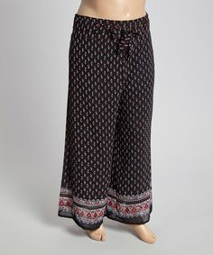 11 This Black & Red Jacquard Palazzo Pants - Plus is perfect! #zulilyfinds