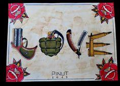 Make Love Not War.. With Tattoo ! Gun Bomb Razor Bullet Traditional Tattoo Pinut Old School