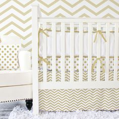 Metallic Gold Chevron Baby Bedding. I'm chevron obsessed... and I love the whimsy of gold. Beautiful!