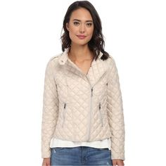 Kenneth Cole New York Asymmetrical Quilted Jacket Women's Coat, White