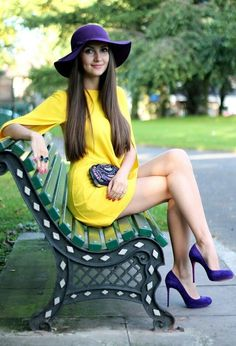 Pretty style for woman ! #fashion #yellow