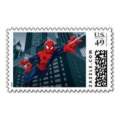 Ultimate Spider-Man Swinging Through City Postage
