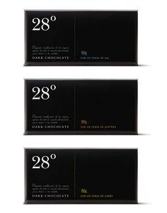 Package design for 28 ºC Chocolate. Design by Puig de Montroca.