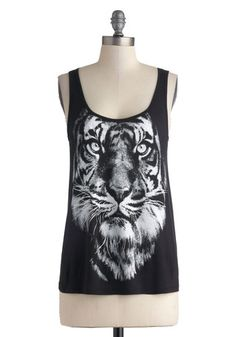 Posh Pouncing Tank - Black, White, Casual, Tank top (2 thick straps), Print with Animals, Summer, Scoop, Mid-length, Urban, Black, Sleeveles...