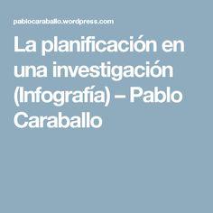 La planificación en una investigación (Infografía) – Pablo Caraballo