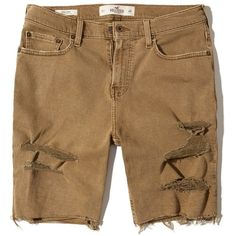 Hollister Classic Fit Denim Shorts (130 BRL) ❤ liked on Polyvore featuring men's fashion, men's clothing, men's shorts, ripped dark khaki, mens denim shorts, mens stretch shorts, mens ripped shorts, mens ripped jean shorts and mens ripped denim shorts